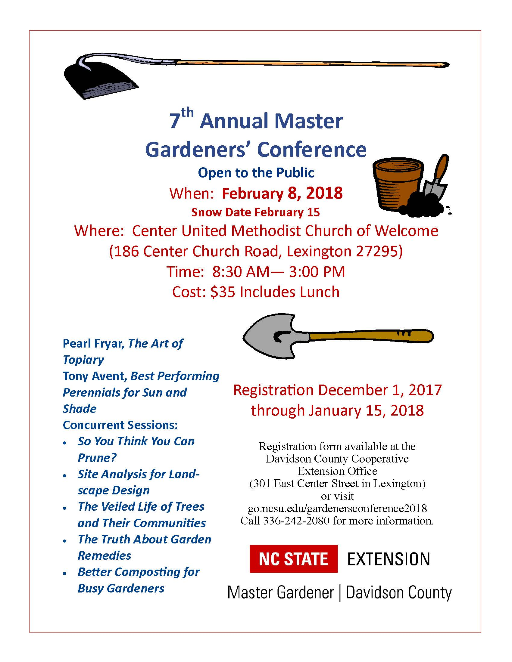 How about a ticket to the Gardeners' Conference! Don't wait to purchase  your ticket as space is limited and seats go fast!