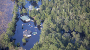 aerial view of a flooded area near the Cape Fear River