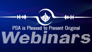 Blue banner with text announcing the PSA webinars